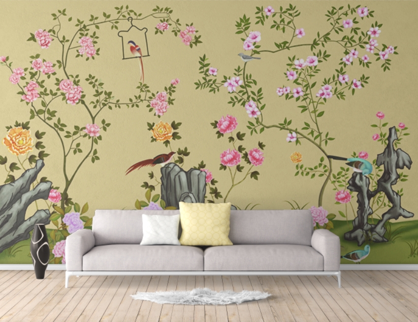 中式手绘花鸟 绿色背景假山牡丹桃花高清背景墙壁画素材ZS10004