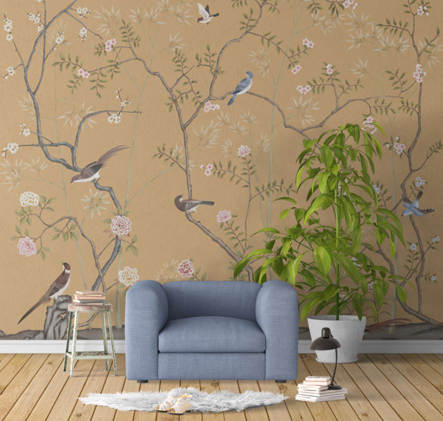中式花鸟背景墙壁画墙布棕色背景会所酒店ZS10005