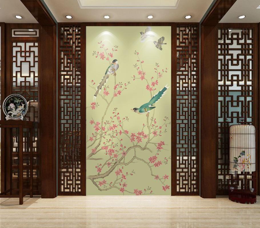 中式手绘花鸟玄关ZS10007