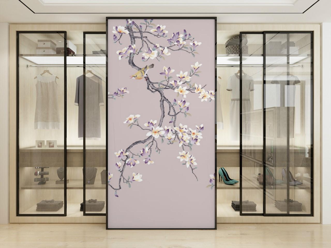 新中式手绘花鸟背景墙玄关ZS10008