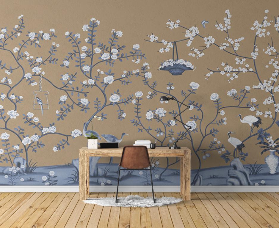 新中式手绘花鸟仙鹤花篮背景墙壁画高清素材图片ZS10009