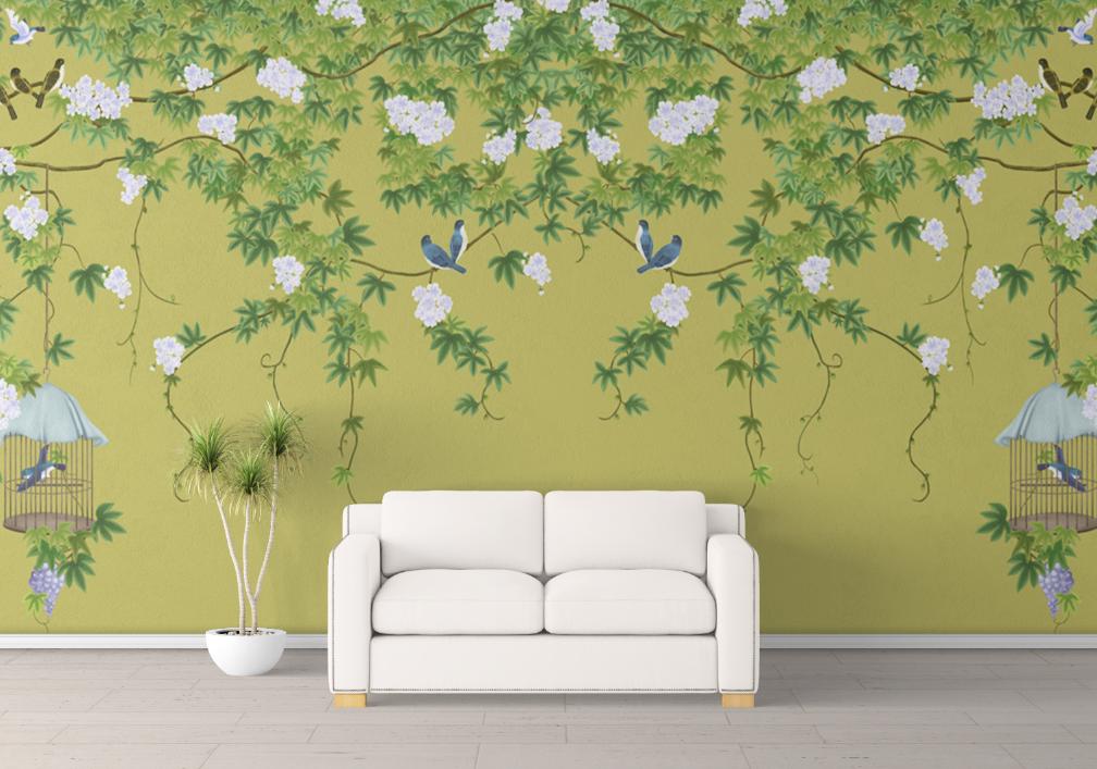 新中式手绘工笔花鸟黄绿色背景墙壁画高清图片素材图库ZS10010