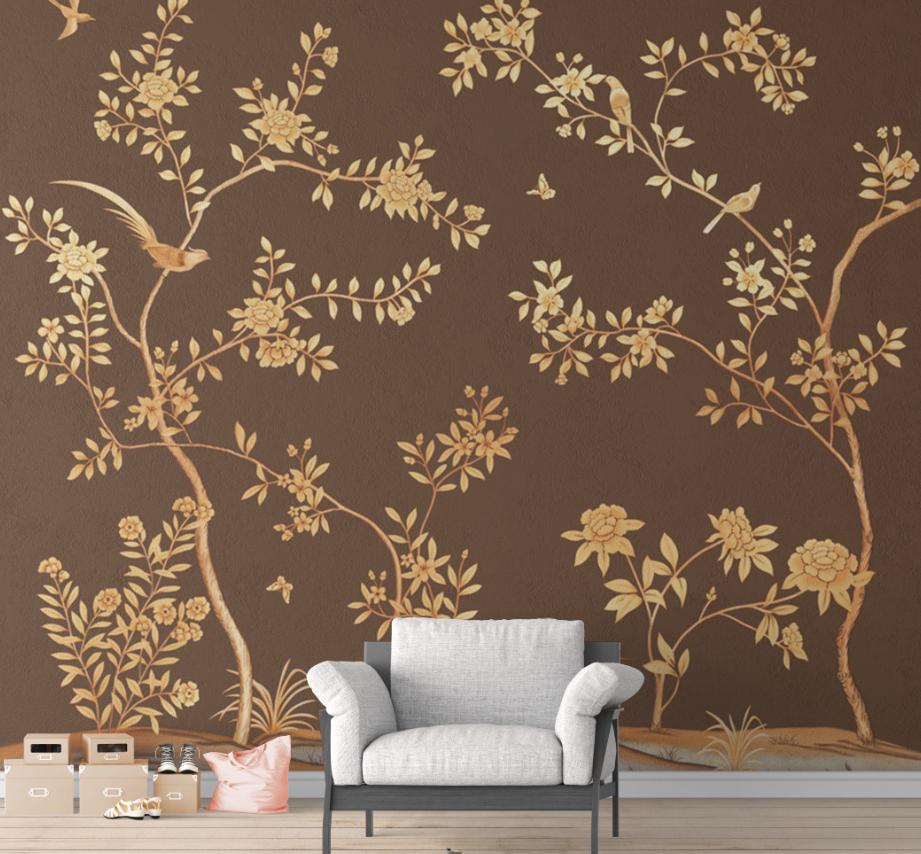 中式手绘花鸟棕色背景墙壁画高清图片素材图库ZS10011
