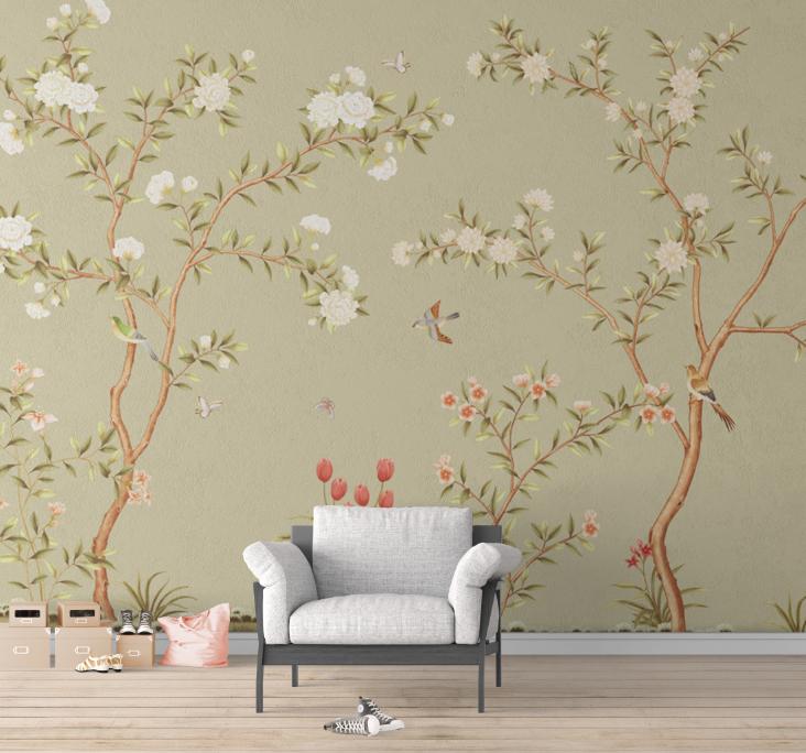 新中式手绘花鸟背景墙背景墙壁画高清图片素材图库ZS10012