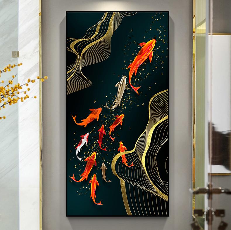 新中式玄关晶瓷九鱼客厅卧室餐厅高清装饰画芯素材打印图片H61271