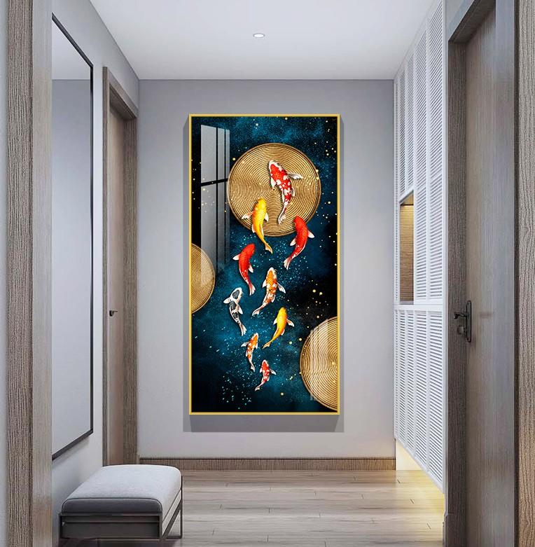 新中式玄关九鱼圆盘晶瓷画客厅高清装饰画芯素材打印图片H61272