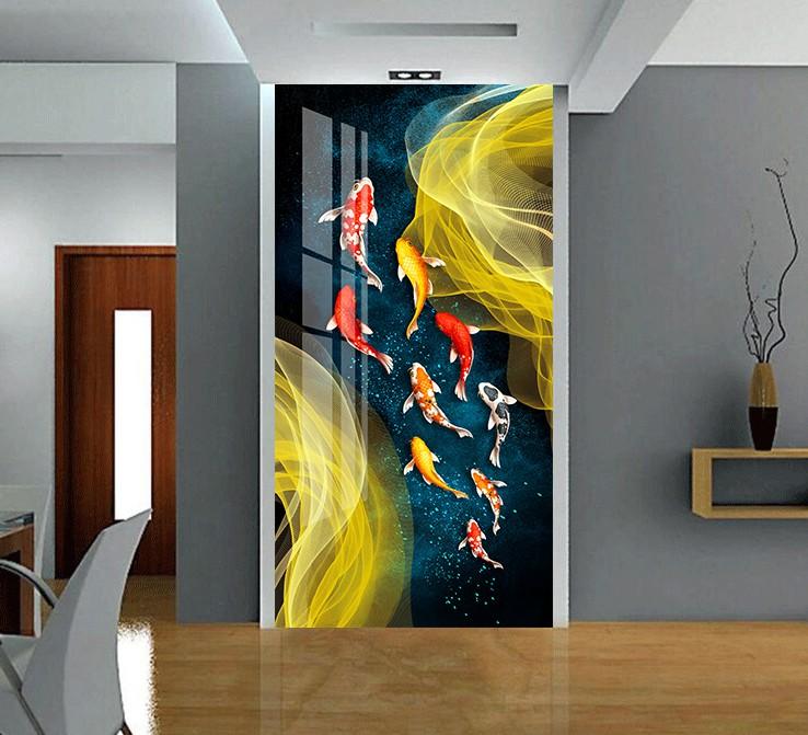 新中式玄关九鱼晶瓷画客厅高清装饰画芯素材打印图片H61273