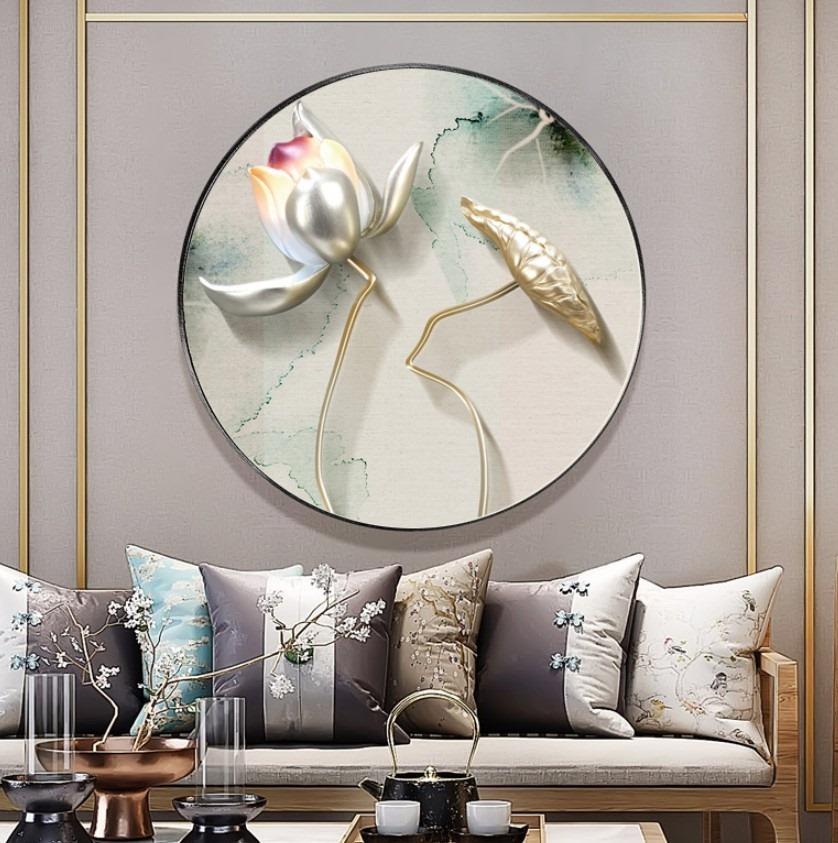 新中式意境荷花圆形装饰画晶瓷画玄关餐厅H61279