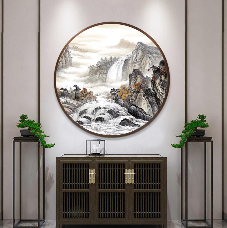 新中式圆形装饰画水墨山水晶瓷画玄关餐厅H61276