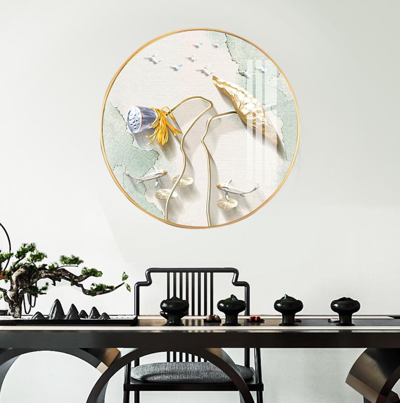 新中式意境荷花飞鸟圆形装饰画晶瓷画玄关餐厅H61278