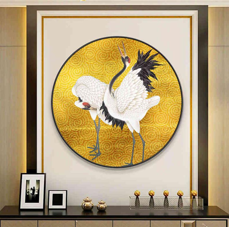 新中式意境仙鹤金色祥云圆形装饰画晶瓷画玄关餐厅H61281