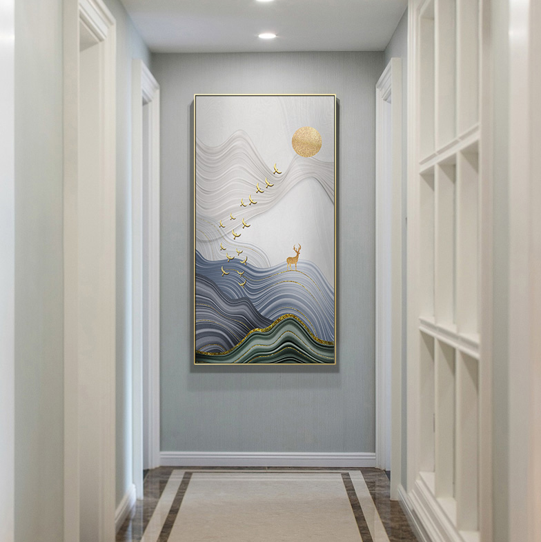 北欧现代玄关麋鹿 客厅卧室餐厅高清装饰画芯素材打印图片H11559