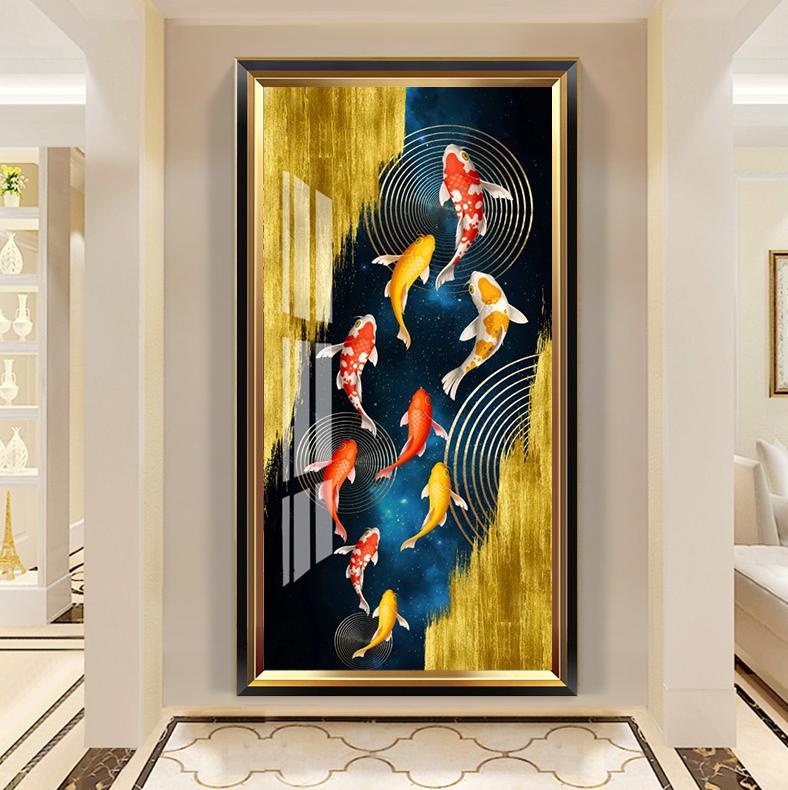 新中式玄关九鱼晶瓷画客厅高清装饰画芯素材打印图片H61274