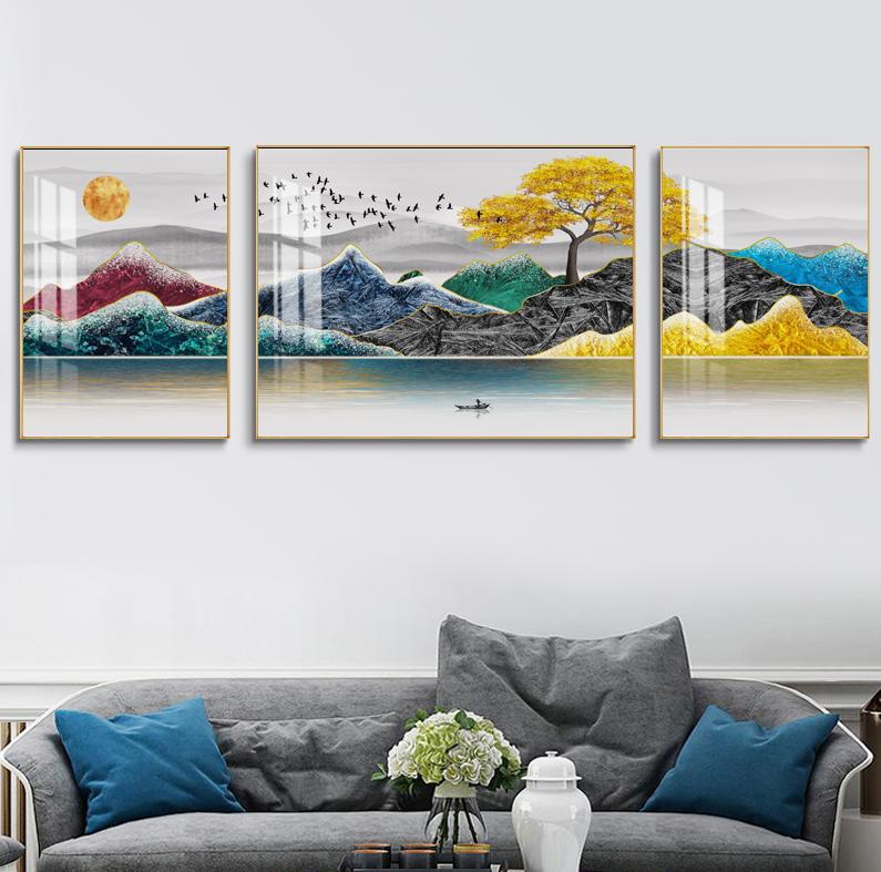 客厅新中式装饰画沙发背景墙挂画山水画创意晶瓷画三联画卧室壁画SLH-3056
