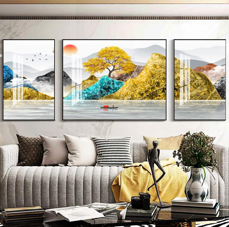 客厅装饰画轻奢山水画三联新中式墙画沙发背景墙挂画现代简约壁画SLH-3058