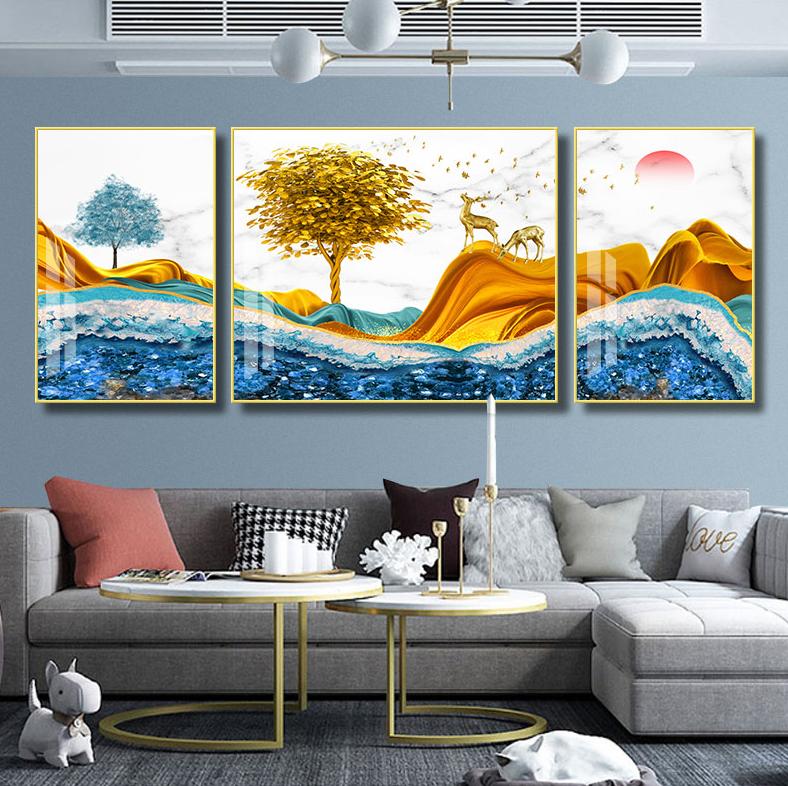 客厅装饰画轻奢山水画三联新中式墙画沙发背景墙挂画祥云瑞鹿SLH-3059