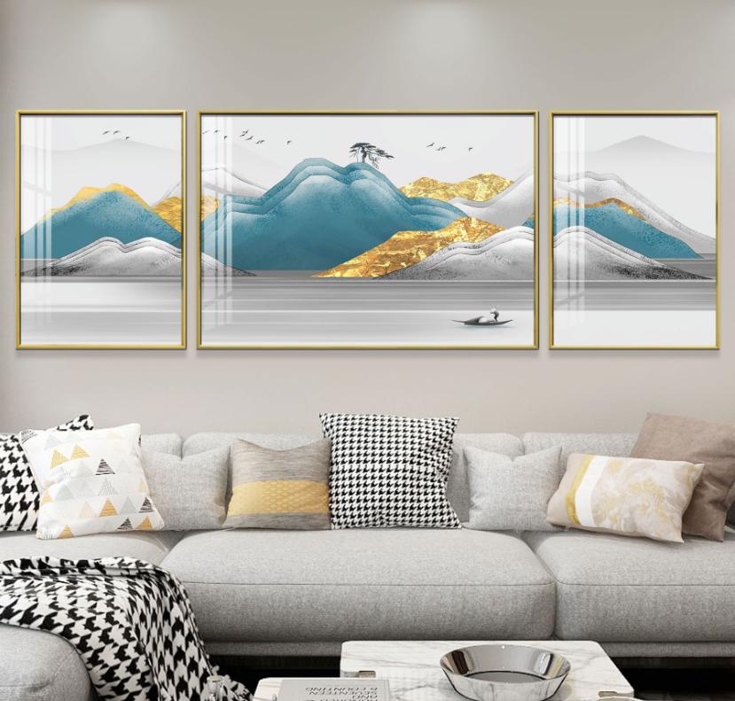 客厅装饰画鹿路路通三联新中式墙画沙发背景墙挂画路路通现代简约壁画SLH-3099